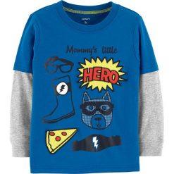 Koszulka w kolorze niebieskim. Niebieskie t-shirty chłopięce z długim rękawem marki Carter's, z bawełny. W wyprzedaży za 32,95 zł.