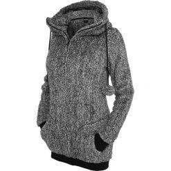 Bluzy damskie: Urban Classics Ladies Melange Teddy Zip Hoodie Bluza z kapturem rozpinana damska czarny/biały