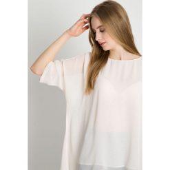 Lekka bluzka w kolorze ecru BIALCON. Szare bluzki asymetryczne BIALCON, z tkaniny, eleganckie, z asymetrycznym kołnierzem. Za 195,00 zł.