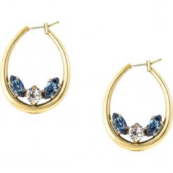 Pozłacane kolczyki-kreole z kryształkami Swarovski. Żółte kolczyki damskie Destellos, z kryształem, metalowe. W wyprzedaży za 136,95 zł.