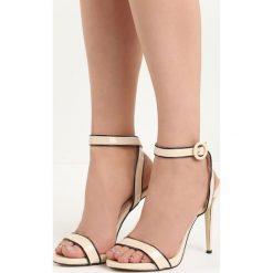 Beżowe Sandały Stinger. Brązowe sandały damskie Born2be, z lakierowanej skóry, na wysokim obcasie, na obcasie. Za 49,99 zł.