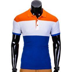 KOSZULKA MĘSKA POLO BEZ NADRUKU S833 - POMARAŃCZOWA. Brązowe koszulki polo Ombre Clothing, m, z nadrukiem. Za 39,00 zł.