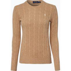 Polo Ralph Lauren - Sweter damski z mieszanki wełny merino i kaszmiru, beżowy. Brązowe swetry klasyczne damskie marki Polo Ralph Lauren, l, z kaszmiru, z klasycznym kołnierzykiem. Za 659,95 zł.