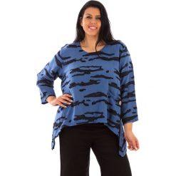 T-shirty damskie: Lniana koszulka w kolorze niebiesko-antracytowym