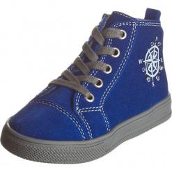 Skórzane sneakersy w kolorze niebieskim. Niebieskie trampki chłopięce Zimowe obuwie dla dzieci, ze skóry, na sznurówki. W wyprzedaży za 147,95 zł.