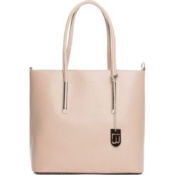 Torebki klasyczne damskie: Skórzana torebka w kolorze jasnojasnoróżowym – 30 x 32 x 12 cm