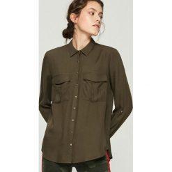 Koszula z kieszeniami - Khaki. Brązowe koszule damskie Sinsay, l. Za 59,99 zł.
