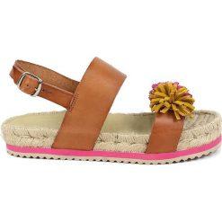Sandały damskie: Skórzane sandały w kolorze jasnobrązowo-różowym