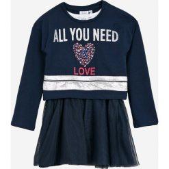 Blukids - Sukienka + bluza dziecięca 98-128 cm. Czarne bluzy dziewczęce rozpinane Blukids, z nadrukiem, z bawełny. W wyprzedaży za 89,90 zł.