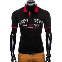 KOSZULKA MĘSKA POLO Z NADRUKIEM S902 - CZARNA. Czarne koszulki polo marki Ombre Clothing, m, z bawełny, z kapturem. Za 59,00 zł.