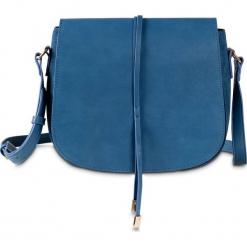 Torebka na ramię bonprix niebieski dżins - złoty kolor. Niebieskie torebki klasyczne damskie bonprix. Za 89,99 zł.