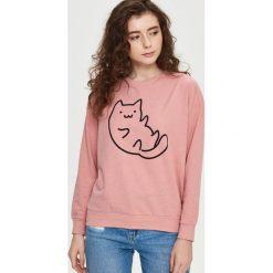Bluzy rozpinane damskie: Bluza z kotem - Różowy