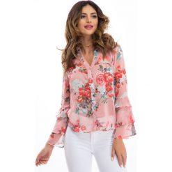 Bluzki damskie: Brudnoróżowa szyfonowa bluzka w kwiaty 8308