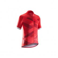 Koszulka krótki rękaw na rower ROADC 500 X męska. Czerwone odzież rowerowa męska B'TWIN, m, z elastanu, z krótkim rękawem, rowerowe. Za 79,99 zł.