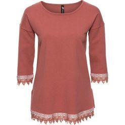 Swetry klasyczne damskie: Sweter z szydełkową plisą bonprix stary róż