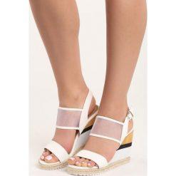 Białe Sandały Little Miss. Białe sandały damskie marki Born2be, z materiału, na koturnie. Za 69,99 zł.