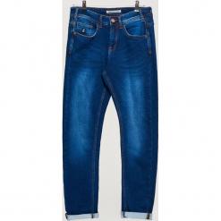 Ocieplane jeansy COMFORTY - Niebieski. Niebieskie jeansy męskie marki bonprix, z dżerseju. Za 149,99 zł.