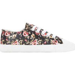 Trampki w kwiatki 26-39. Szare buty sportowe dziewczęce marki La Redoute Collections, w kwiaty, z bawełny, na sznurówki. Za 79,76 zł.