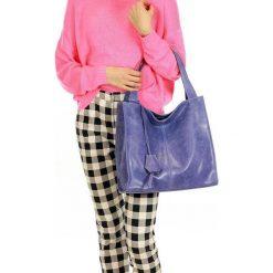 Torebki klasyczne damskie: MARGOT Modna skórzana torba shopperka jeans
