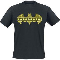 Batman Christmas Pattern T-Shirt czarny. Czarne t-shirty męskie z nadrukiem marki Batman, l, z okrągłym kołnierzem. Za 74,90 zł.