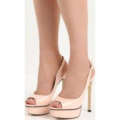 Różowe Sandały My Way. Czerwone sandały damskie Born2be, z lakierowanej skóry, na wysokim obcasie, na obcasie. Za 59,99 zł.