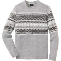 Sweter z okrągłym dekoltem Regular Fit bonprix jasnoszary melanż. Szare swetry klasyczne męskie bonprix, l, melanż, z okrągłym kołnierzem. Za 74,99 zł.