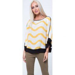 Bluzka we wzory oversize kremowo-żółta MP28393. Białe bluzki oversize Fasardi, m. Za 39,00 zł.