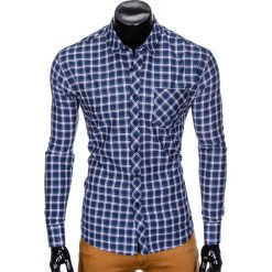 Koszule męskie na spinki: KOSZULA MĘSKA Z DŁUGIM RĘKAWEM K420 – GRANATOWA/ZIELONA
