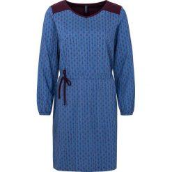 """Sukienki hiszpanki: Lniana sukienka """"Xefe"""" w kolorze ciemnofioletowo-niebieskim"""