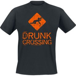 T-shirty męskie z nadrukiem: Drunk Crossing T-Shirt czarny