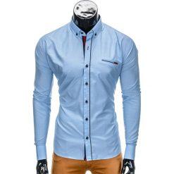 KOSZULA MĘSKA Z DŁUGIM RĘKAWEM K322 - BŁĘKITNA. Niebieskie koszule męskie na spinki Ombre Clothing, m, z bawełny, z kontrastowym kołnierzykiem, z długim rękawem. Za 59,00 zł.