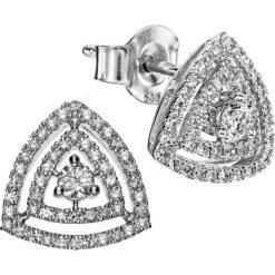 Kolczyki damskie: RABAT Białe Złoto Kolczyki – złoto białe 585, Diament 0,12ct…