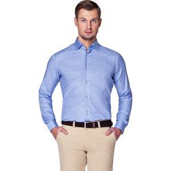 Koszula Granatowa w Pepitę Zamur. Niebieskie koszule męskie na spinki LANCERTO, m, z bawełny. W wyprzedaży za 199,90 zł.