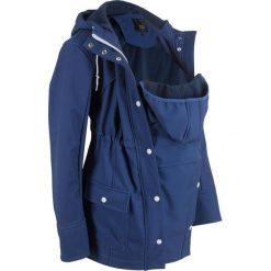 Kurtka softshell ciążowa z wstawką niemowlęcą bonprix kobaltowy. Niebieskie kurtki ciążowe marki bonprix, z materiału, z dekoltem w serek. Za 249,99 zł.