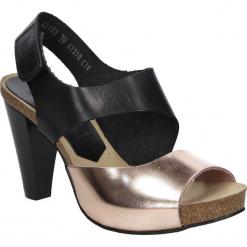 Sandały skórzane na słupku Nessi 42103. Czarne sandały damskie Nessi, na słupku. Za 208,99 zł.