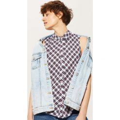 Bluzki asymetryczne: Bluzka w kratę - Różowy
