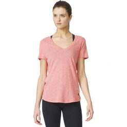 Topy sportowe damskie: Adidas Koszulka damska Logo V-Tee różowa r. L (AZ3062)