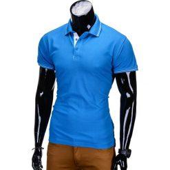 KOSZULKA MĘSKA POLO BEZ NADRUKU S666 - NIEBIESKA. Niebieskie koszulki polo marki Ombre Clothing, m, z nadrukiem, z bawełny. Za 45,00 zł.