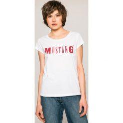 Mustang - Top. Niebieskie topy damskie marki Mustang, z aplikacjami, z bawełny. Za 49,90 zł.