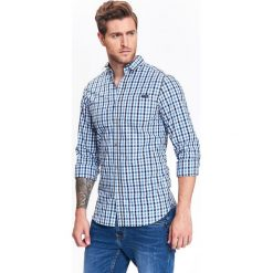 KOSZULA MĘSKAW KRATKĘ O DOPASOWANYM KROJU. Szare koszule męskie w kratę marki Top Secret. Za 64,99 zł.