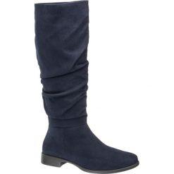 Kozaki damskie Graceland granatowe. Niebieskie buty zimowe damskie marki Graceland, z materiału, na obcasie. Za 159,90 zł.