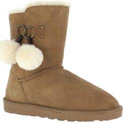 """Buty zimowe damskie: Skórzane kozaki """"Gigi"""" w kolorze brązowym"""