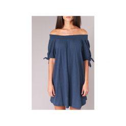Sukienki krótkie Roxy  BRIGHT BLUE SKY. Niebieskie sukienki mini marki Roxy, m, z krótkim rękawem. Za 207,20 zł.