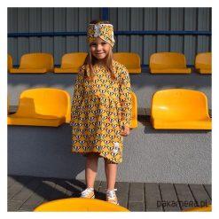 Sukienka badger. Szare sukienki dziewczęce z falbanami Pakamera, w geometryczne wzory. Za 68,00 zł.