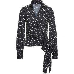 Bluzki damskie: Bluzka kopertowa bonprix czarno-biały w kropki