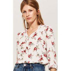 Bluzki damskie: Bluzka koszulowa - Kremowy