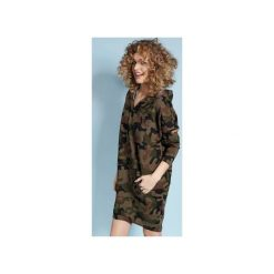 Zakapturzona Carla - sukienka z kapturem - moro. Szare sukienki z falbanami marki Madnezz, moro, z kapturem. Za 219,00 zł.