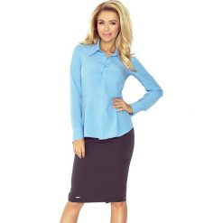 Koszula z baskinką - BŁĘKITNA. Niebieskie koszule wiązane damskie morimia, s, biznesowe. Za 77,49 zł.