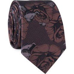 Krawat jedwabny KWSR000307. Brązowe krawaty męskie Giacomo Conti, w kwiaty, z jedwabiu, eleganckie. Za 129,00 zł.