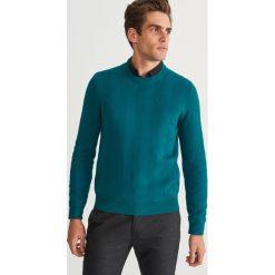 Sweter ze strukturalnej dzianiny - Turkusowy. Niebieskie swetry klasyczne męskie Reserved, l, z dzianiny. Za 139,99 zł.